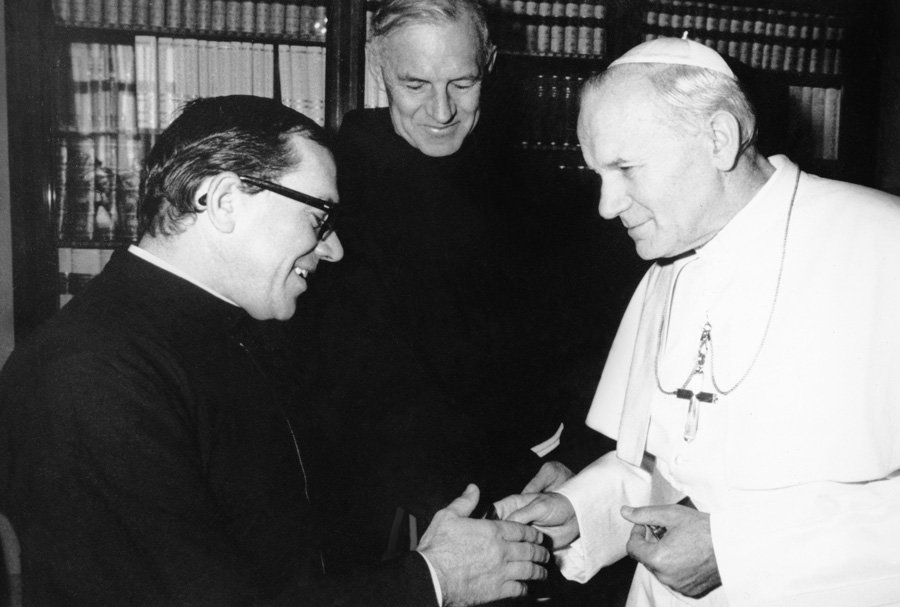 During a visit to Rome, Brother Andy is delighted to meet Pope John Paul II. (Courtesy of A. Marsolek)