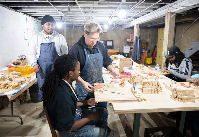 At Precious Blood Ministry of Reconciliation, woodshop coordinator Mike Andersen does mission in Chicago by giving at-risk Chicagoans a bridge to job opportunities and a better life by teaching them woodworking skills. (Octavio Duran/U.S.)