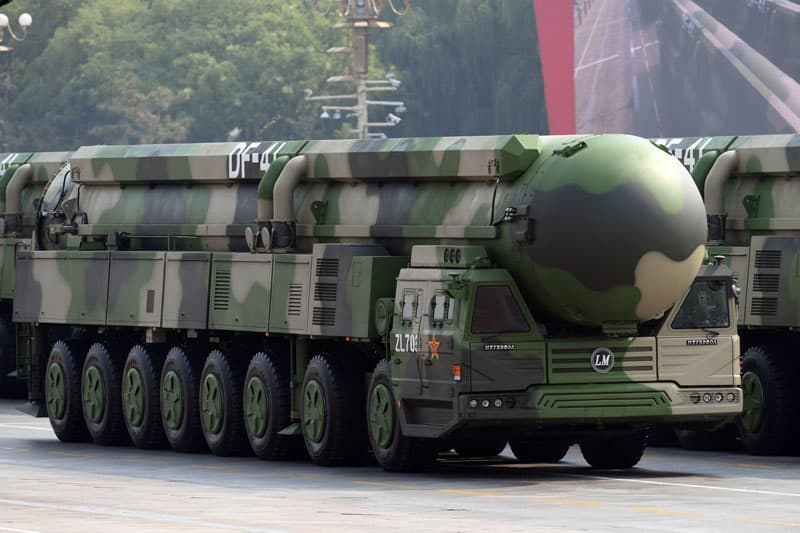 A Dongfeng-41 intercontinental strategic nuclear missiles group formation is seen Oct. 1, 2019, in Beijing. (CNS photo/Weng Qiyu, Reuters)