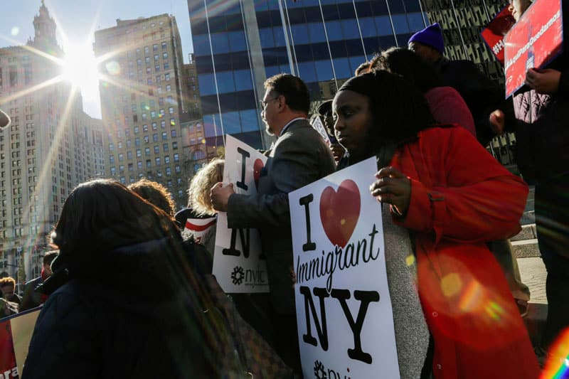Haitian immigrants and their supporters in New York City rally Nov. 21, 2017, to reject deportations of immigrants with Temporary Protected Status. (CNS photo/Eduardo Munoz, Reuters)