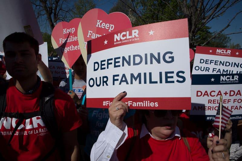DACA demonstrators gather outside the U.S. Supreme Court in Washington April 18, 2016. (CNS photo/Tyler Orsburn)