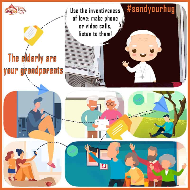 This graphic illustrates a campaign launched July 27, 2020, by the Vatican's Dicastery for Laity, the Family and Life, inspired by Pope Francis' invitation to reach out safely and creatively to the elderly. (CNS graphic/courtesy Dicastery for Laity, the Family and Life)