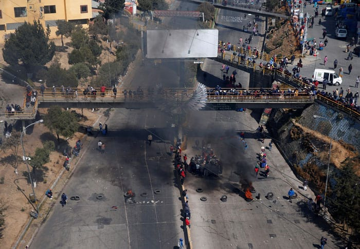 An aerial view shows the blockade point set up by supporters of former President Evo Morales in El Alto, Bolivia, Aug. 10, 2020. The protesters are demanding quick presidential elections which have been postponed multiple times due to the COVID-19 pandemic. (CNS photo/David Mercado, Reuters)