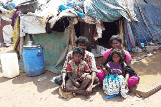 A Dalit family outside their makeshift shack in Chengalpattu in the Indian state of Tamil Nadu. (Photo/Special Projects in Christian Missionary Areas))