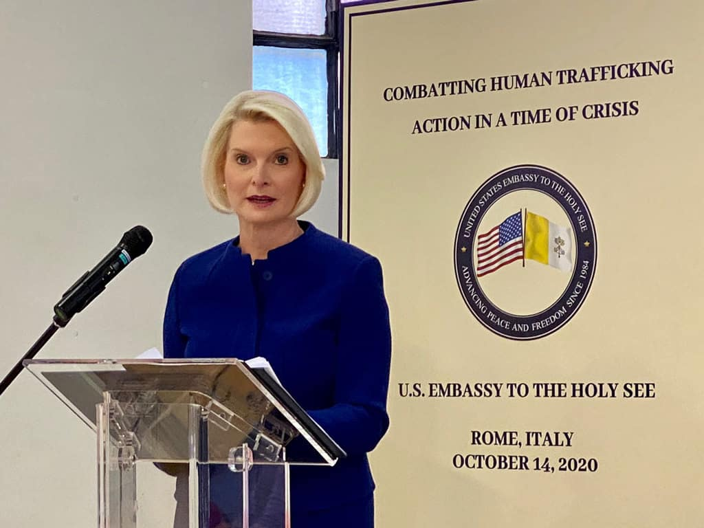 Callista Gingrich, U.S. ambassador to the Holy See, speaks at a symposium on human trafficking in Rome Oct. 14, 2020. The U.S. Embassy to the Holy See sponsored the symposium, which looked at how the COVID-19 pandemic is making the human trafficking situation worse. (CNS/courtesy U.S. Embassy to the Holy See)