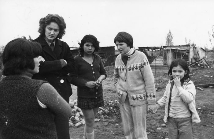 Maryknoll Sisters Carla Piette, tallest, and Ita Ford, in light-colored sweater, worked in Chile before going to El Salvador, where both died. (Maryknoll Sisters Communications Dept.)