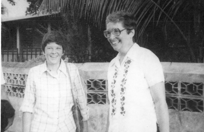 Maryknoll Sisters Ita Ford (l.) and Maura Clarke are pictured together before they were murdered in El Salvador. They were two of four Catholic Church women martyred together by Salvadoran soldiers on Dec. 2, 1980. (Nancy Donovan/El Salvador)