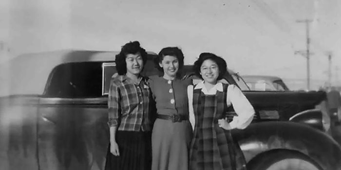 Mari Hannan is flanked by two of her friends, Aki (left) and Toshi, whom she met when her friends and their families were interned in Tule Lake Segregation Center in California. (Courtesy of Helen Parra)