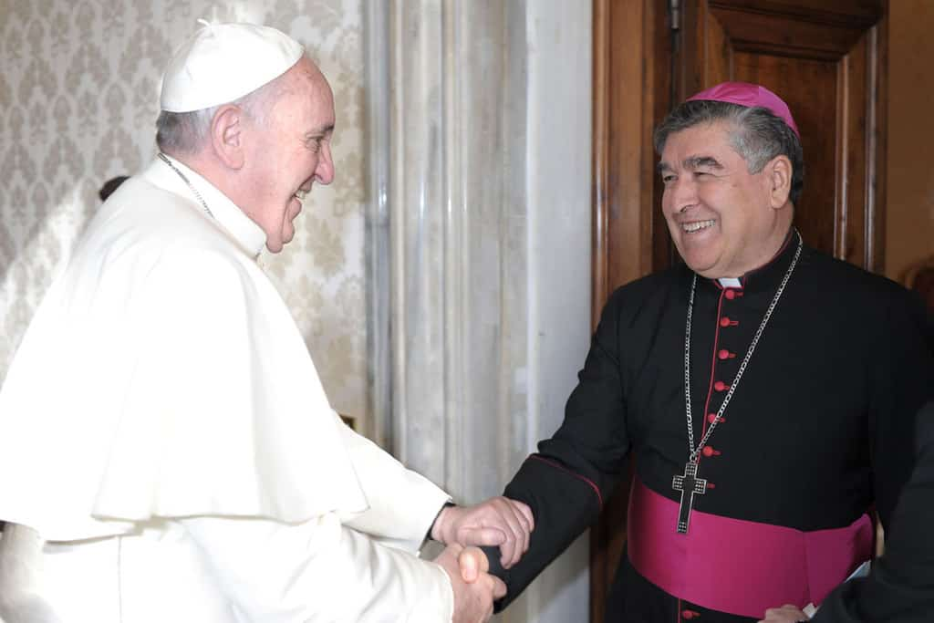 Bishop Felipe Arizmendi Esquivel of San Cristóbal de Las Casas, Mexico, greets Pope Francis during an audience at the Vatican in this Dec. 12, 2013, file photo. Cardinal-designate Arizmendi is among 13 new cardinals to be created by the pope at a Nov. 28 consistory. (CNS/Vatican Media)
