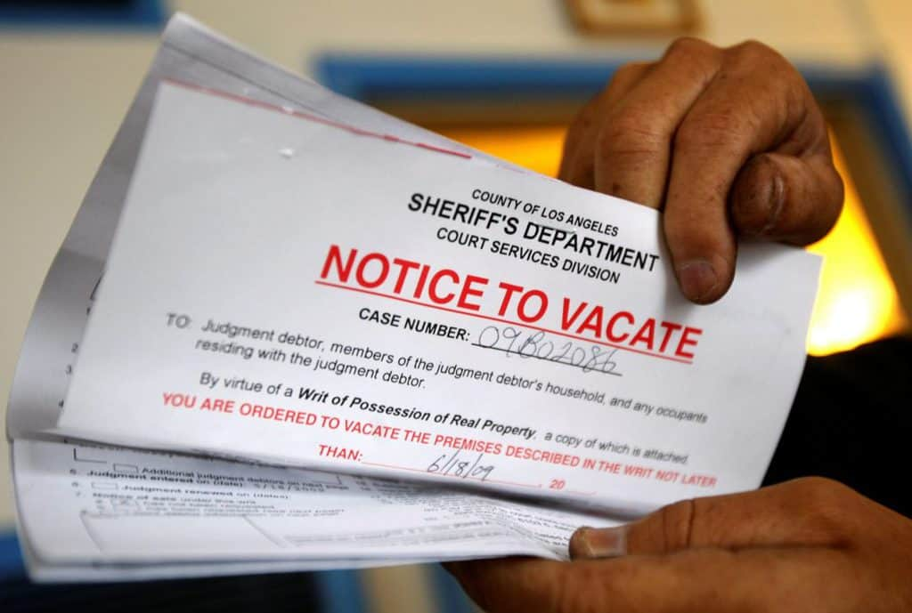 An eviction notice is seen in this illustration photo. (CNS photo/Lucy Nicholson, Reuters)