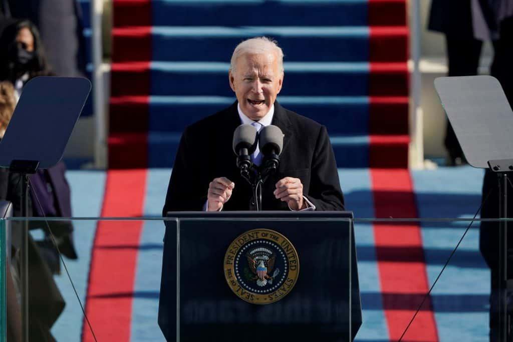 U.S. President Joseph R. Biden speaks during his inauguration at the Capitol in Washington Jan. 20, 2021. (CNS photo/Patrick Semansky, pool via Reuters)