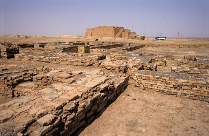 The ruins of Ur, Iraq, with the reconstructed Ziggurate in the background, are pictured in 1998. During his March 5-8 trip to Iraq, Pope Francis will visit Ur, the birthplace of Abraham, recognized as the patriarch of faith in one God by Jews, Christians and Muslims. (CNS photo/Norbert Schiller)