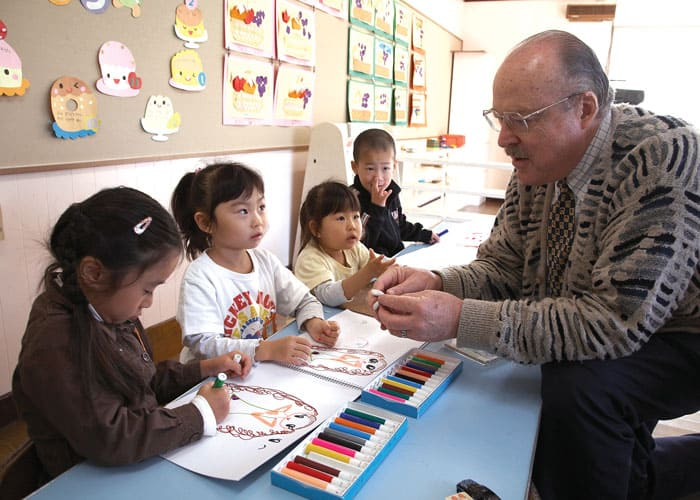 In his previous assignment in the city of Tomakomai before he came to Muroran, Father Frank Riha enjoyed interacting with the children in Holy Mother Kindergarten, where he served as principal. (Sean Sprague/Japan)
