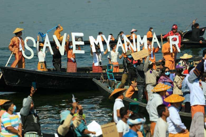 Protesters wearing traditional Shan dress take part in a demonstration against the Myanmar military coup on Inle lake in Shan state on Feb. 11. (Photo: AFP)