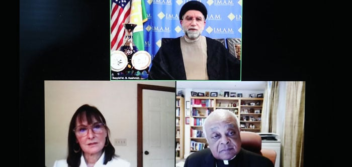 Imam Sayyid M.B. Kashmiri, top, participates in a March 17, 2021, virtual dialogue with Washington Cardinal Wilton D. Gregory about Christian-Muslim relations. Pictured at left is Tamara Sonn, director of the Alwaleed Center for Muslim-Christian Understanding at the Edmund A. Walsh School of Foreign Service at Georgetown University. (CNS screen grab/Andrew Biraj, Catholic Standard)