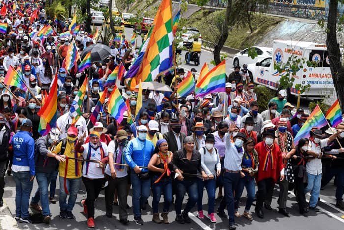 Ecuadorian presidential candidate Yaku Pérez gestures as members of Indigenous communities and his supporters march in Quito Feb. 23, 2021. The Indigenous candidate missed the April 11 runoff election by 32,000 votes. (CNS photo/Santiago Arcos, Reuters)