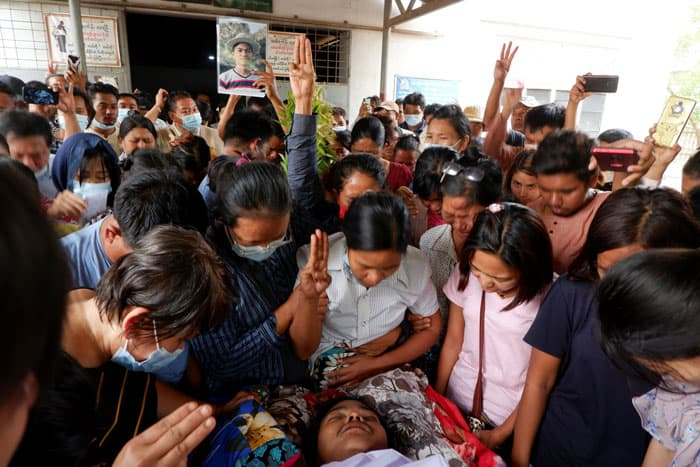 After Bloody Saturday, Myanmar Catholics Pray -People mourn as they attend the funeral of Kyaw Win Maung in Mandalay, Myanmar, March 28, 2021. Win Maung was shot and killed by riot police during a protest against the military coup. (CNS photo/Reuters)