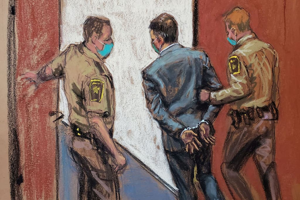 Former Minneapolis police officer Derek Chauvin is led away in handcuffs in this courtroom sketch April 20, 2021, after a Minneapolis jury found him guilty of all charges in his trial for second-degree murder, third-degree murder and second-degree manslaughter in the death of George Floyd. (CNS photo/Jane Rosenberg, Reuters)