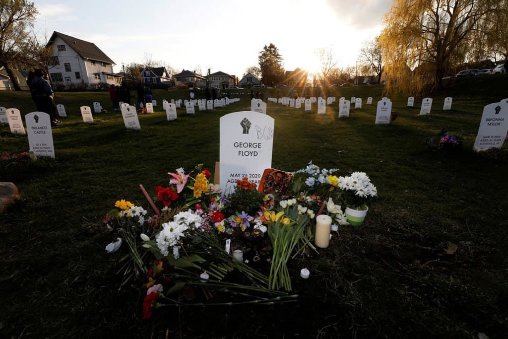 """""""Say Their Names"""" cemetery in Minneapolis is seen April 20, 2021, the day jurors issued their verdict convicting former Minneapolis police officer Derek Chauvin of second-degree unintentional murder, third-degree murder and second-degree manslaughter in the death of George Floyd. (CNS photo/Octavio Jones, Reuters)"""