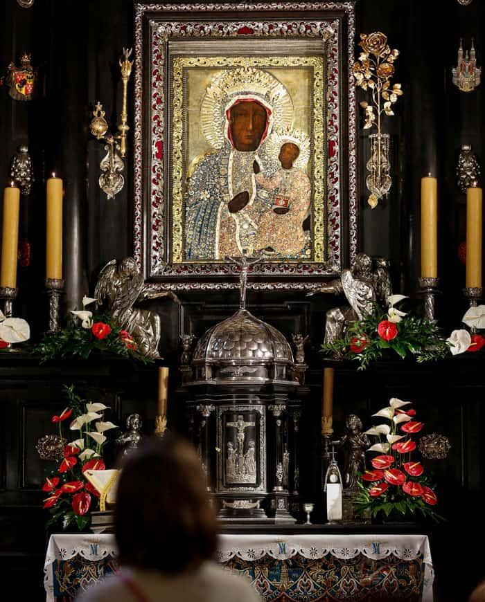 The icon of Our Lady of Czestochowa at the Jasna Gora Monastery in Czestochowa, Poland. (CNS photo/Nancy Wiechec)