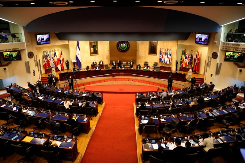 Representatives in the Salvadoran congress participate in a session to discuss the removal of constitutional court judges in San Salvador, El Salvador, May 1, 2021. (CNS photo/Jose Cabezas, Reuters)