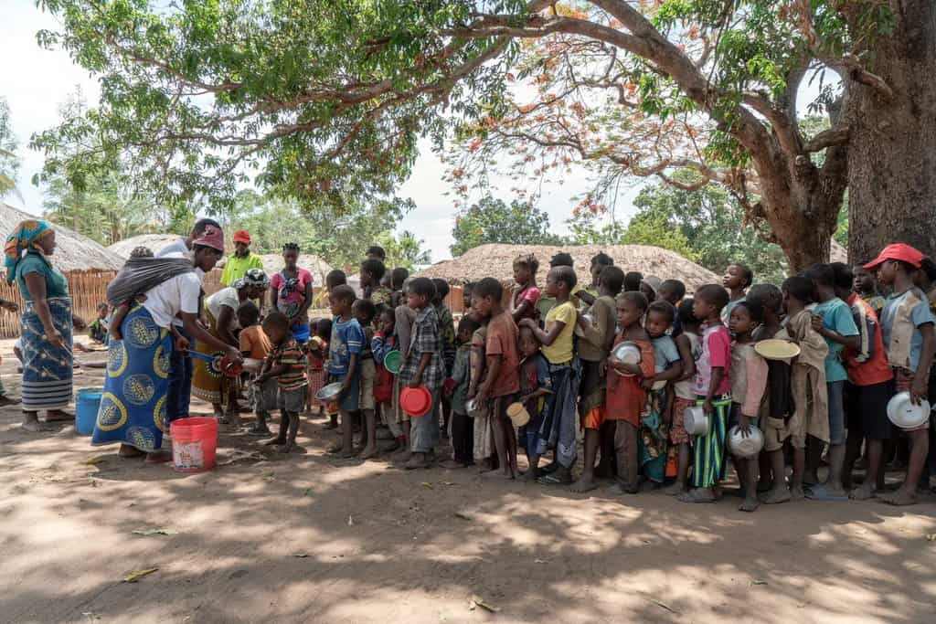 Displaced people gather in a camp in Mozambique's Cabo Delgado province in this 2019 photo. Residents in northern Mozambique, a region rich in natural gas deposits, have been grappling with an Islamist insurgency since 2017. (CNS photo/Alessandro Grassani, courtesy AVSI)