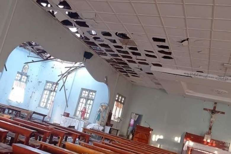 The roof and ceiling of Sacred Heart Church in Kayanthayar Parish near Loikaw, the capital city of Kayah state, Myanmar, were damaged by the military attack on May 24. (Photo: CJ)