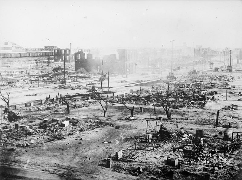 The Greenwood neighborhood is seen in ruins after a mob passed through it during the 1921 race massacre in Tulsa, Okla. (CNS photo/American National Red Cross, Library of Congress, Handout via Reuters)