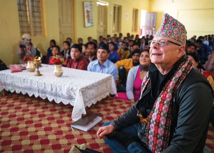 Father Thaler with students and staff at a presentation for the Maryknoll Fathers and Brothers of Nepal at the secondary school in Tratal, Bardiya District. (Gregg Brekke/Nepal)