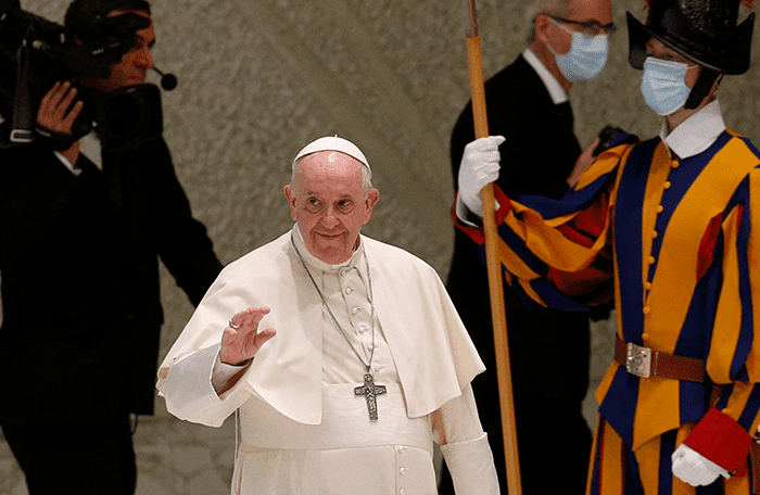 Hypocrisy in the Church Is 'Detestable,' Pope Says at Audience: Pope Francis arrives to lead his general audience in the Paul VI hall at the Vatican Aug. 25, 2021. (CNS photo/Paul Haring)